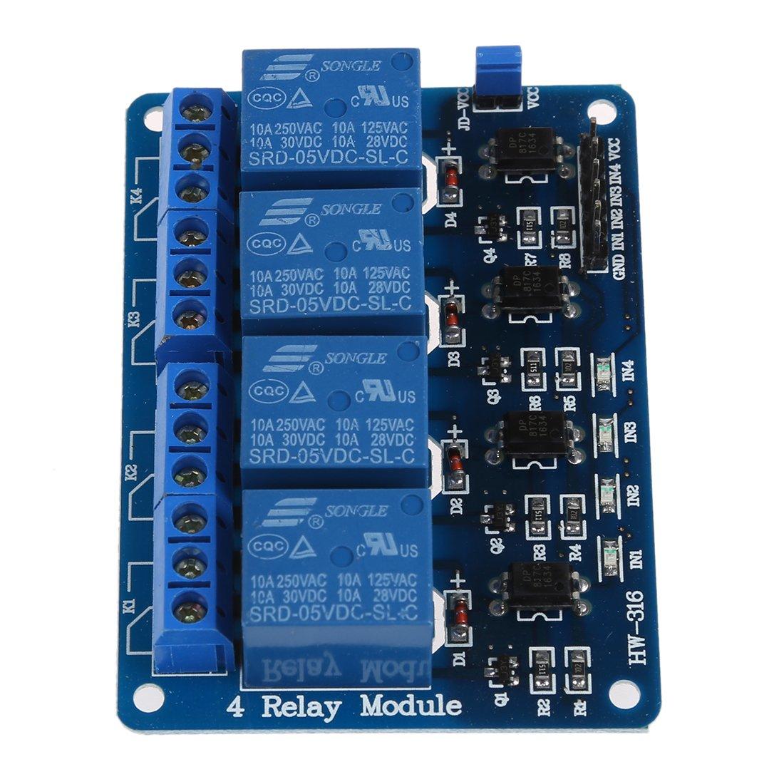 R TOOGOO 4 Kanal 5V Relay Relais Module Modul fuer Arduino TTL-Logik