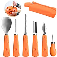 6 Pcs Halloween Pumpkin Carving Tools Kit, Stainless Steel Sculpture Knife Set with Carrying Case, Easily Carve Jack-O-Lantern for Halloween Decoration