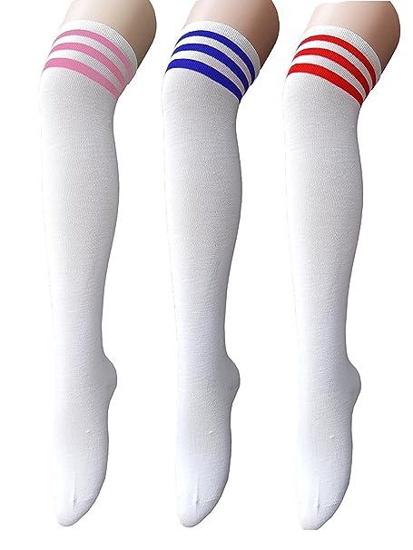 60c5f689089 Zando Women Thin Stripes Tube Thigh High Tights Over Knee Socks  Amazon.ca   Clothing   Accessories