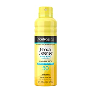 Neutrogena Beach Defense Water Sun Protection Sunscreen Body Spray with Broad Spectrum SPF 50, Water-Resistant & Oil-Free, Lightweight UVA/UVB Sun Protection, Large Size, 6.5 oz