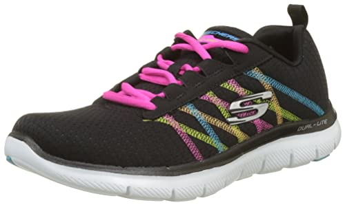 Skechers Flex Appeal 2.0 New Image Black Pink Womens Trainers Shoes-5 r36cq
