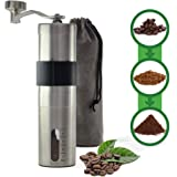Manual Coffee Grinder with Ceramic Burr by Friska - Durable Portable Stainless Steel, Grey Velvet Bag & Silicon Grip