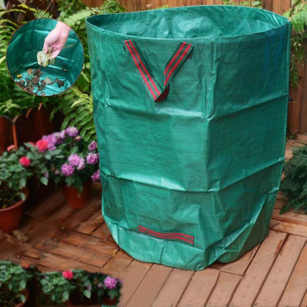 2PCS Garden Waste Bags 67x76cm 270L Garden Waste Bins Woven Yard Leaf Bag Reusable Rubbish Sacks Foldable Waterproof Compost Bags Washable Tearproof Lawn Pool Probiotic Bag
