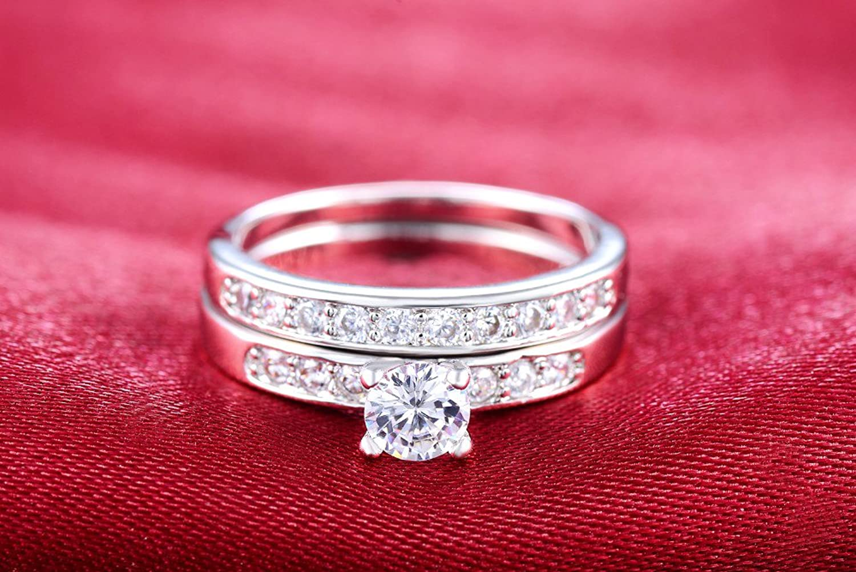Amazon.com: ANDREANGEL Women Wedding Ring Set White Gold / Top ...