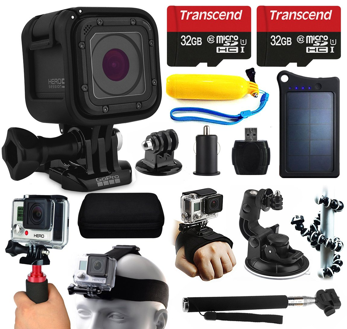 GoPro HERO5 Session HD Action Camera (CHDHS-501) + 64GB Essetial Accessories Bundle includes Solar Charger + Stabilizer + Head Strap + Car Mount + Selfie Stick + Travel Case + Car Charger + More! by 47th Street Photo
