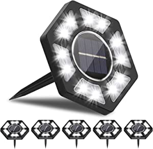 Rodicoco Solar Ground Lights 6 Packs, 12 LED Beads Solar Lights Outdoor, lamp Waterproof LED Solar Garden Lights Garden Lighting for Lawn,Pathway,Yard,Driveway,Step and Walkway