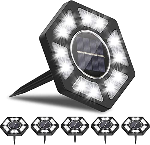 Rodicoco Solar Ground Lights 6 , 12 LED Solar Lights Outdoor, lamp Waterproof LED Solar Garden Lights Garden Lighting for Lawn,Pathway,Yard,Driveway,Step and Walkway