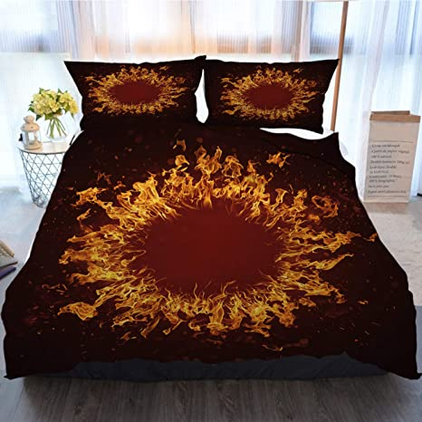 Ottosun Bedding 3 Piece Duvet Cover Sets Xxxl Blazing Round Fire Frame With Bright Sparks Home Luxury Soft Duvet Comforter Cover Full Home Kitchen