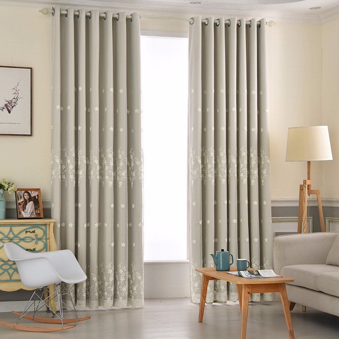 X 2 Curtain Curtain Cloth Curtain Two Layers Double Deck American Country Country Rope Embroidery All Shading,A,150 X 270 Cm W X H