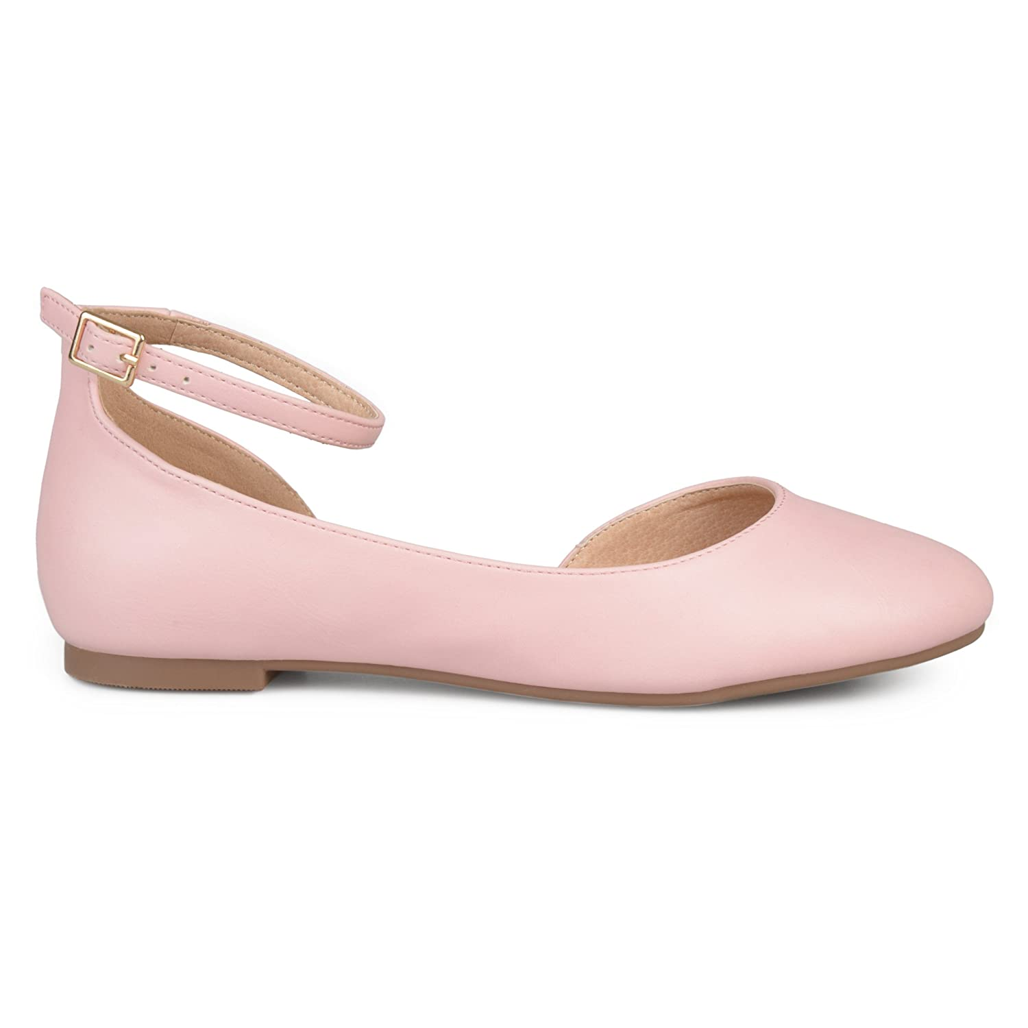 Brinley Co Womens ARO Faux Leather Wide Width Ankle Strap Round Toe D'Orsay Flats B074WH7L75 8.5 B(M) US|Pink