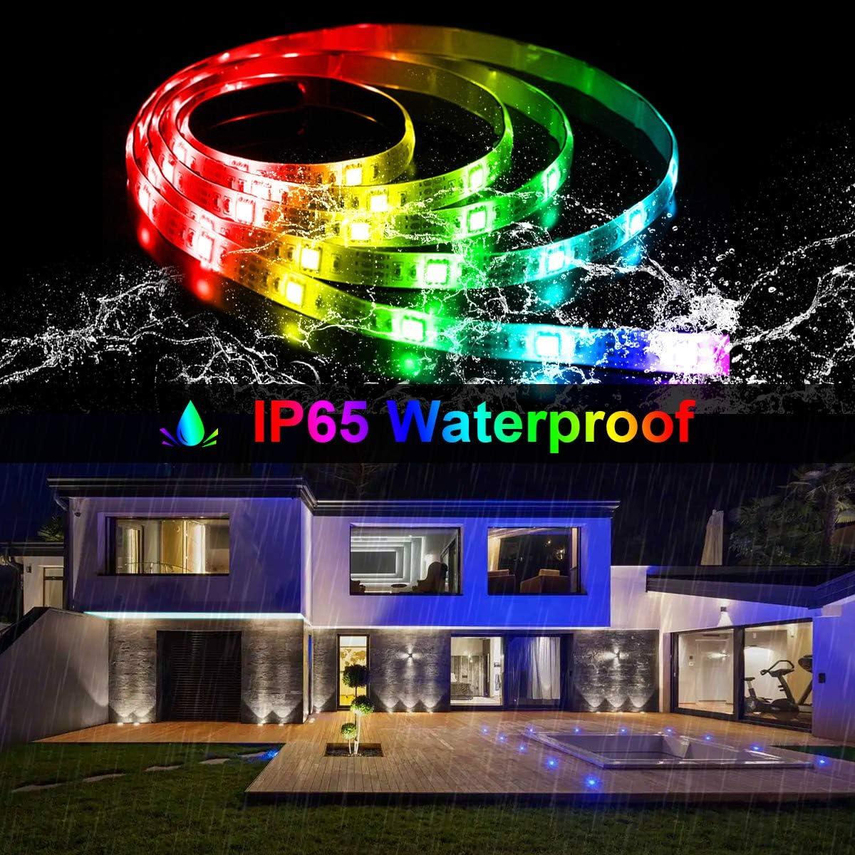 Bedroom Decor Led Strip Lights Rope Lights Wall Lights Mixi 16 4ft 150 Lights Waterproof Led Light Strips Color Changing 5050 Rgb With Bluetooth Music Sync App Remote Controller Seasonal Decor Seasonal Lighting