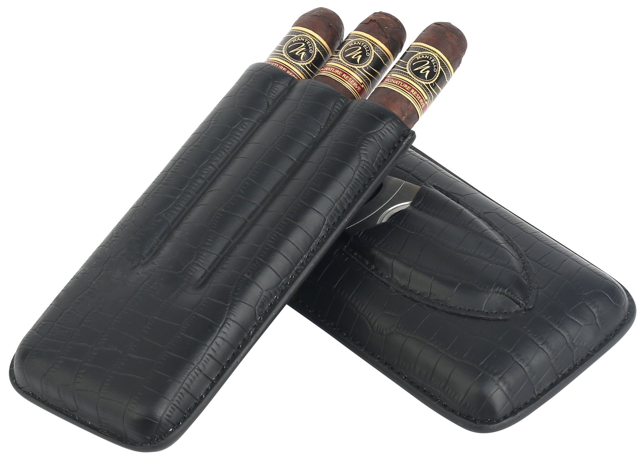 Mantello 3 Cigar Genuine Leather Cigar Case with Cutter