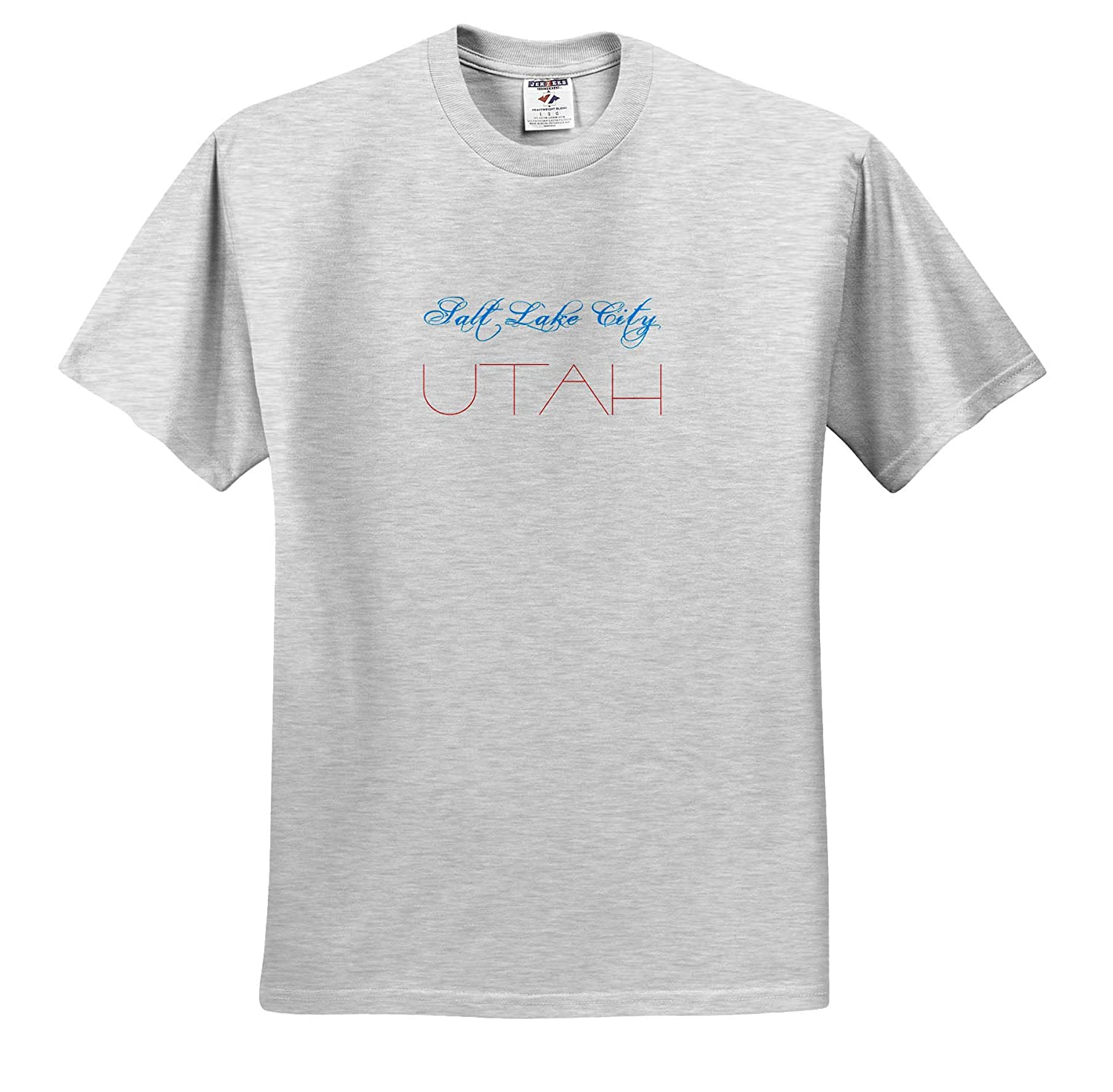 American Cities American Cities Salt Lake City Decorative Text of Blue red Colors T-Shirts 3dRose Alexis Design