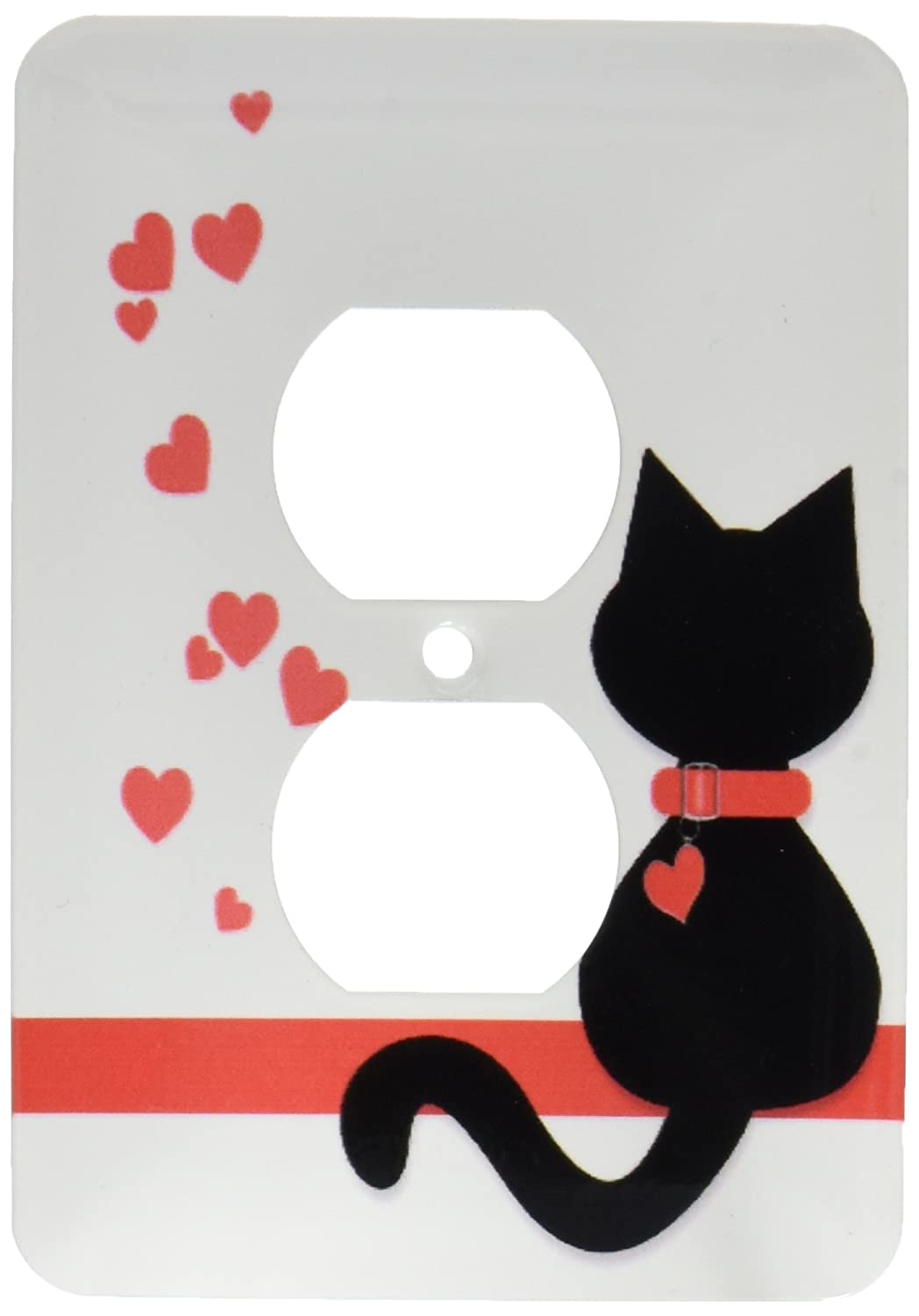 3dRose lsp/_164791/_6  Pet Lovers Red Hearts Black Kitty Cat 2 Plug Outlet Cover
