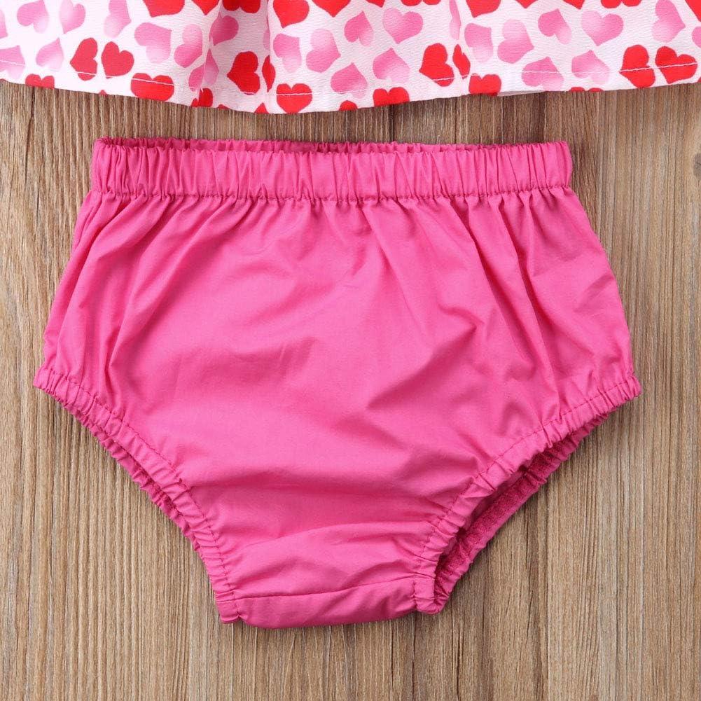 Newborn Baby Girl Valentines Day Off Shoulder Heart Top Shorts Briefs Headband Summer Clothes Set