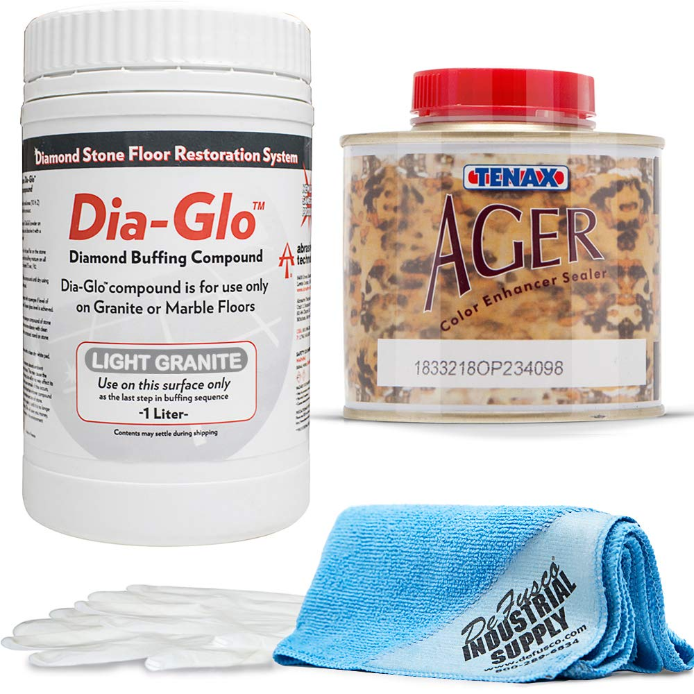 Dia-Glo (Diaglo) Light Granite 1QT, Stone Granite Floor Polishing Compound - Tenax AGER 1/4 Liter - 16x16 Microfiber Cloth - Gloves - Bundle - 4 Items