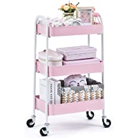 kingrack Storage Trolley on wheels, 3-Tier Rolling Cart,Utility Cart with Metal mesh basket Organization, Mobile Storage Rack Shelves for Kitchen Home Office Garage Bathroom, No Screws Assemble (Pink) WKAU130917-P