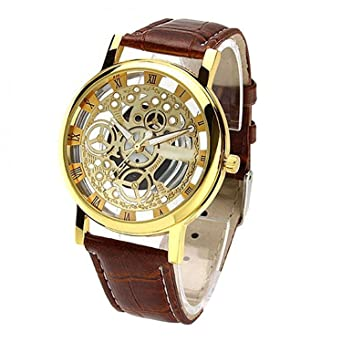 00814cd262e7d Sky Mart New Arrival Special Collection Transparent Analog Gold Dial Brown  Strap Men s   Boy s Watch