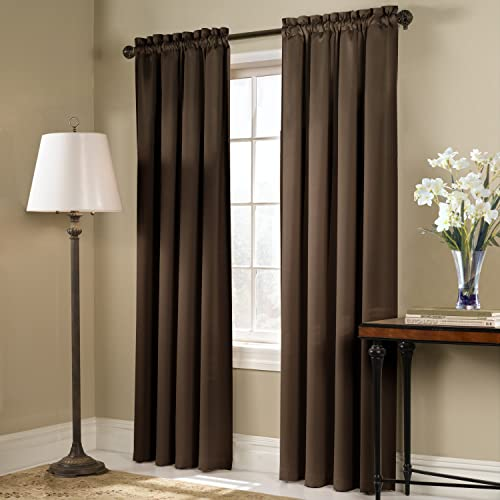 American Curtain and Home Solid Blackout Window Curtain, 54-Inch by 84-Inch, Chocolate