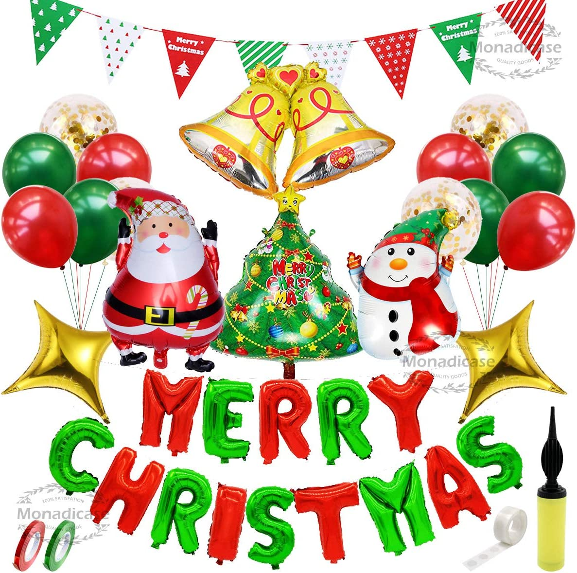 Christmas Decorations Balloon Kit 50 Pcs - Merry Christmas/Santa Claus/Xmas Tree/Snowman/Bell/Star Foil Balloon, Gold Sequin/Red Green Latex Balloon with Air Pump, Banner Gift for New Year Party Decor