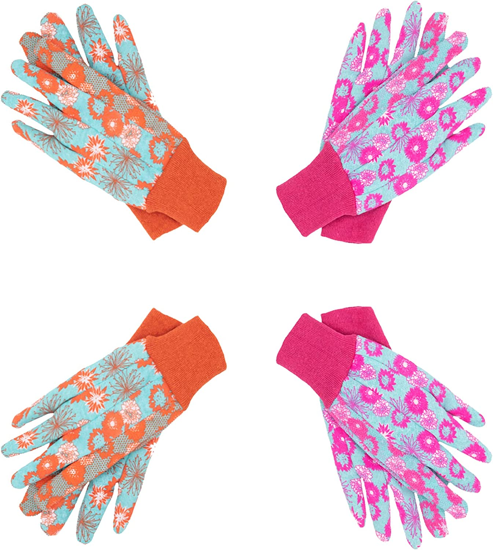 HANDLANDY Women Garden Gloves, 4 pairs Ladies Soft Jersey Gardening Gloves with PVC Dots, Floral Yard Work Gloves