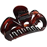 Parcelona French Oiseau Medium Covered Spring Celluloid Tortoise Shell Claw Jaw Hair Clip - 3 Inches