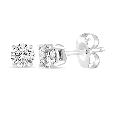 3cf1c45e0ecfd Amazon.com: IGI Certified 14K White Gold Diamond Stud Earrings (1CTW ...