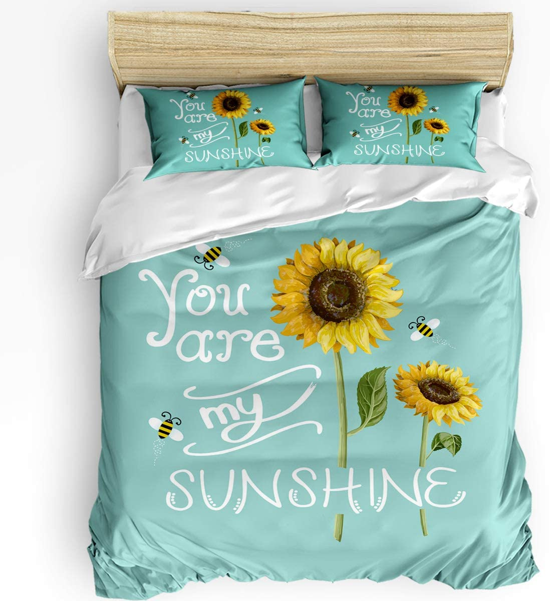 3 Piece Bedding Set Comforter Cover Full Size Sunflowers And Bees You Are My Sunshine Teal Background 3 Pcs Duvet Cover Set With Zipper Closure For Childrens Kids Teens Adults Home Kitchen