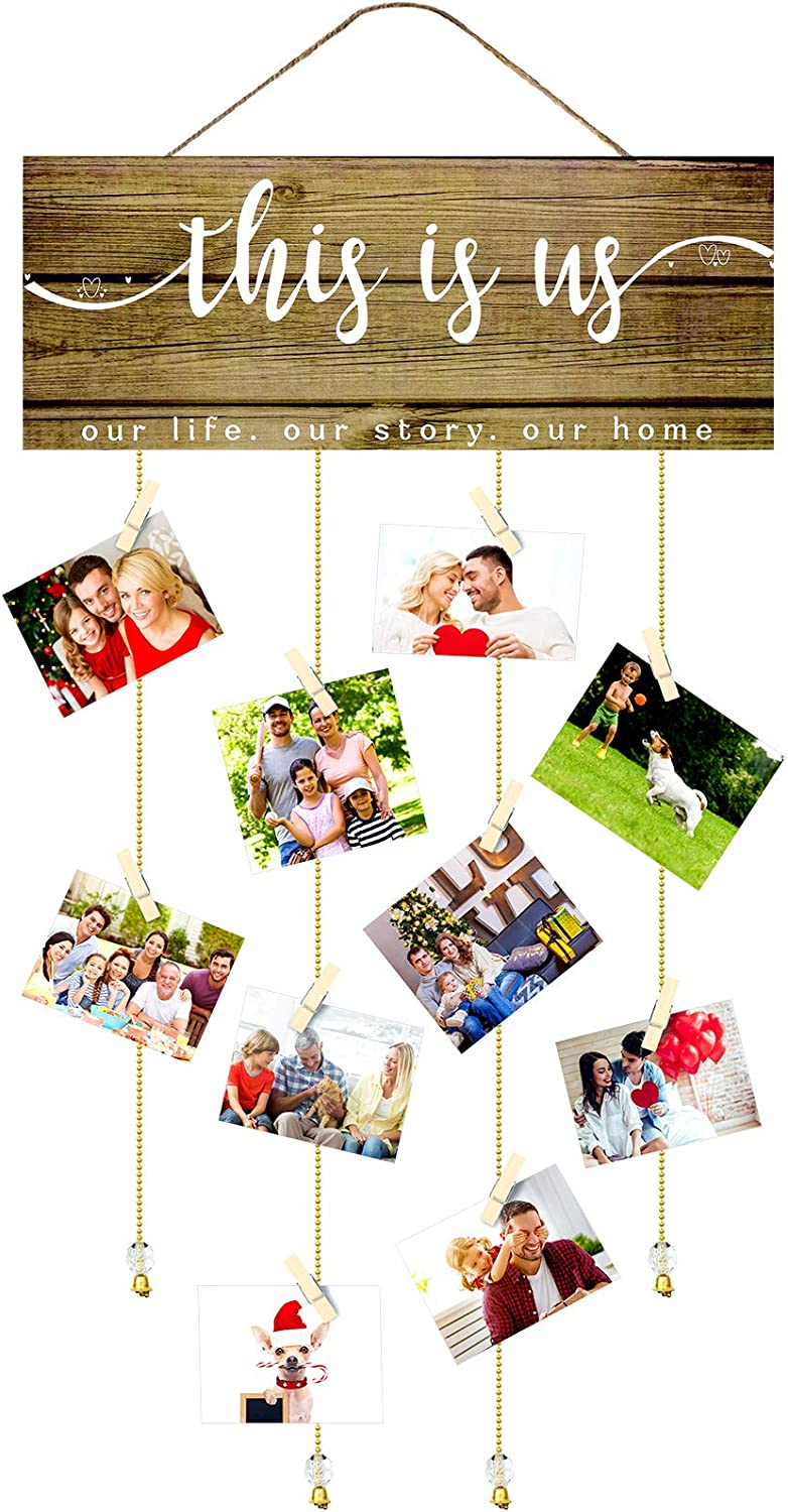 This Is Us Wooden Hanging Photo Holder This Is Us Rustic Home Sign Family Photo Display Board Plaque with Clips and Golden Chains for Picture Hanging Farmhouse Wall Decor Housewarming