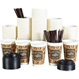 100 Pack Disposable Coffee Cups with Lids Staws 12 oz Insulated Paper Cold Hot Beverage Drink Cups for Party Home Restaurant