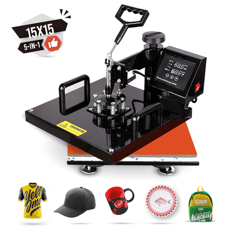 TUSY Heat Press Machine 15x15 inch Swing Away 5 in 1 Digital Industrial Quality Printing Press Heat Transfer Machine for T-Shirt Hat Mug Plate