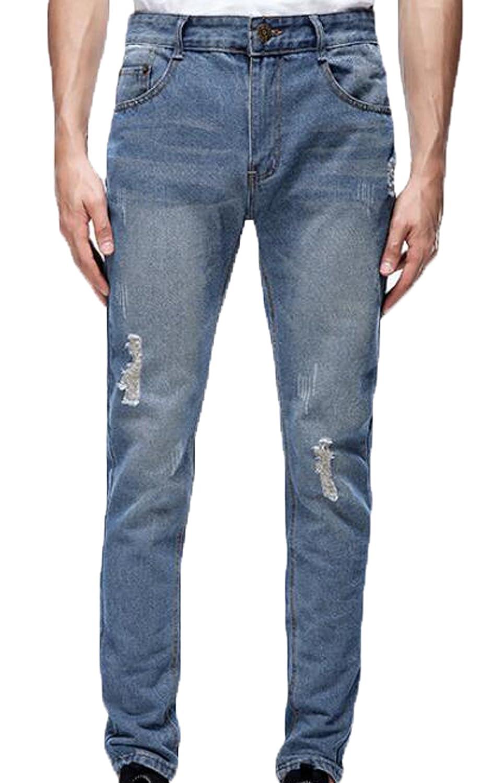 Vska Men's Casual Pencil Ripped Jeans Denim Pants