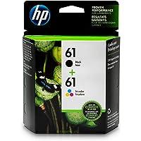 HP 61 Black & Tri-Color Original Ink Cartridges, 2 Pack For HP ENVY 4500, 4501, 4502, 4504, 4505, 5530, 5531, 5532, 5534, 5535, 5539, HP Officejet 2620, 2621, 4630, 4632, 4635, HP Deskjet 1000, 1010, 1012, 1050, 1051, 1055, 1056, 1510, 1512, 1514…