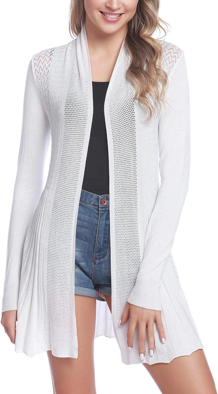 Sykooria Ladies Cardigan Summer Jacket Long Sleeve Lightweight Open Front Waterfall Boyfriend Cardigans Sweater Blouse Top Size 6-20