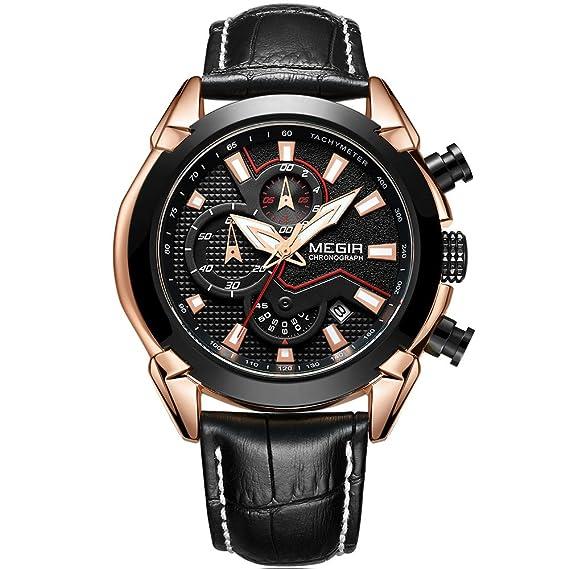 Relojes deportivos cronógrafo de cuarzo con correa de cuero negro luminoso, reloj de pulsera de estilo casual, para hombre: Amazon.es: Relojes