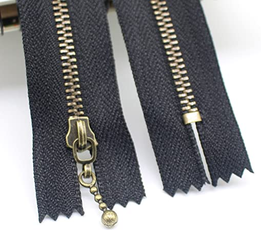 Meillia 10PCS 6 Inch #3 Antique Brass Metal Zippers Close End Anti-Brass Metal Zippers for Sewing 6 10pcs Purses Bags Handbags