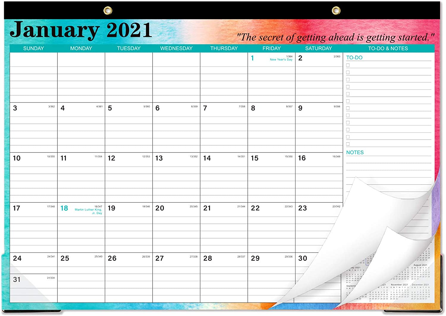 """2021-2022 Desk Calendar - Desk Calendar 2021-2022 with To-do List & Notes Content and Julian Date, Jan 2021 - Jun 2022, 17""""x 12"""", Thick Paper with Colorful Background Pattern"""