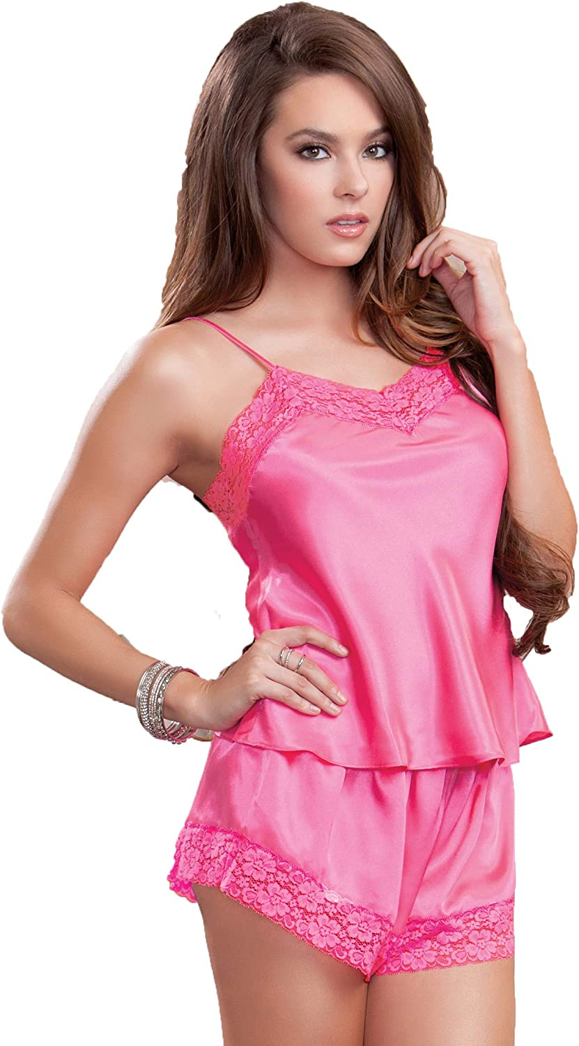 iCollection Women's Satin and Lace Cami and Short Set: Clothing