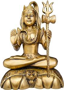 QT S Shiva Brass Idol Statue Hindu God 10 Inch Shiva Statue for Home Temple Mandir Pooja Murti Decor Brass Shiva Statues Lingam Figurine Wedding Return Diwali Decoration Gift Handmade in Nepal