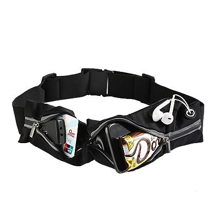 3af20b760d91 Jialing Running Belt Waist Pack for Phone Fanny Pack for Men Women  Waterproof Running Pouch Adjustable Waist Bag 2 Pockets