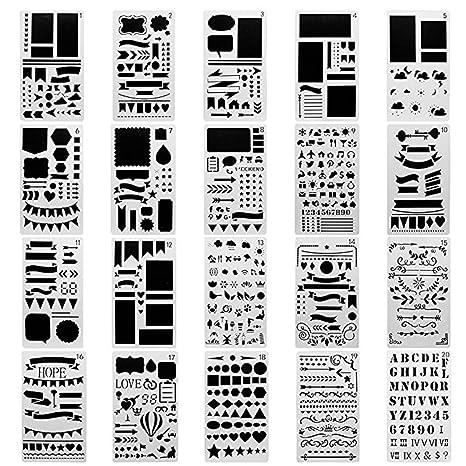 meetory 20 pcs plástico, diseño de diario, Banners, separadores y iconos pintura dibujo