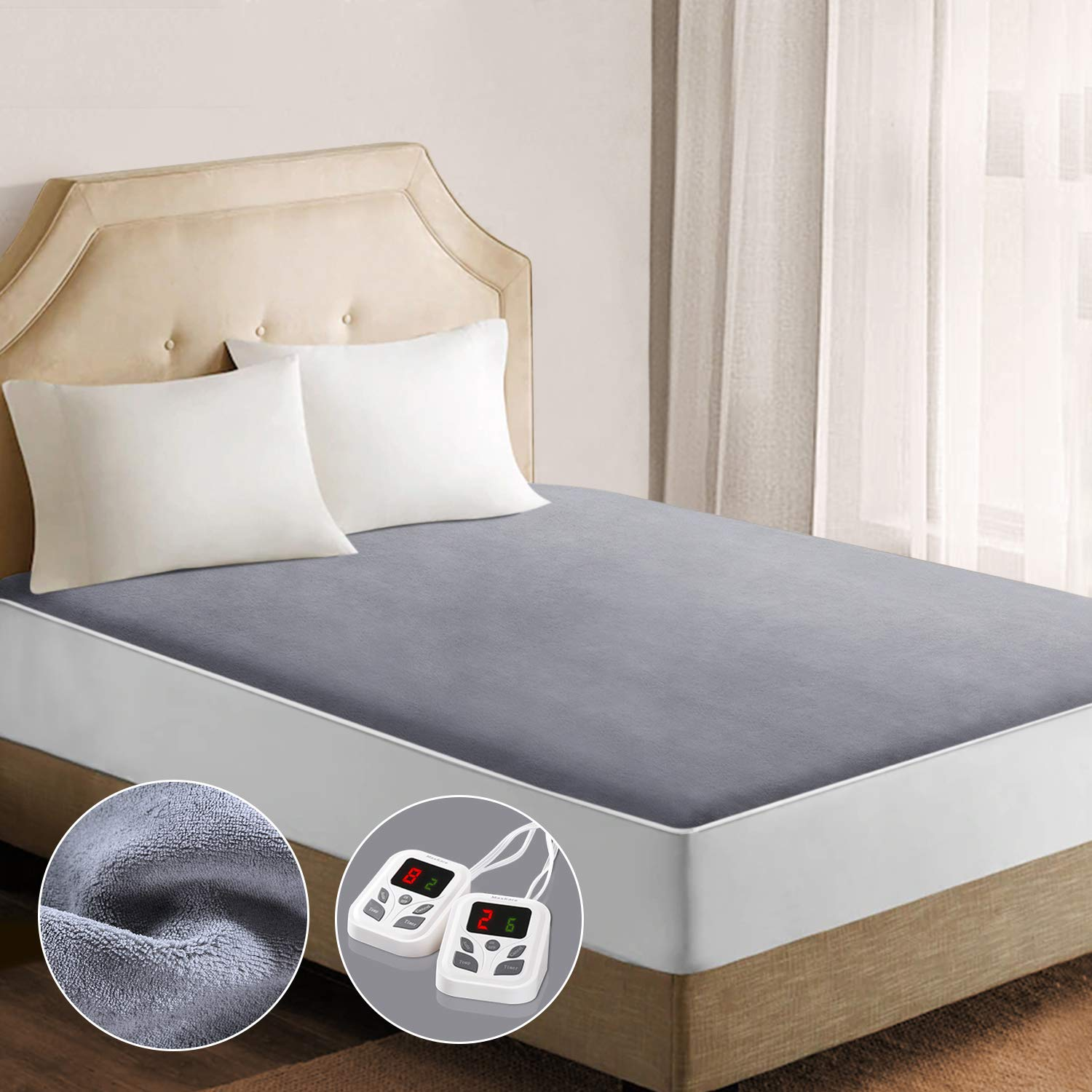 Heated Mattress Pad Underblanket Dual Controller for 2 Users Soft Coral Velvet 10 Heating Levels & 9 Timer Settings Fast Heating