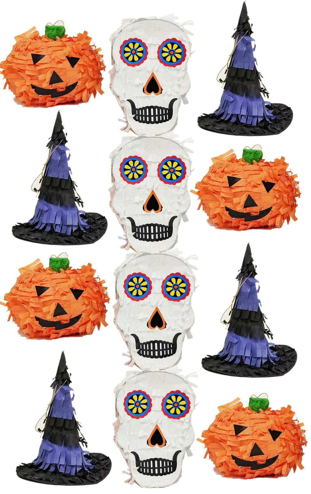 Halloween Mini Pinatas Party Favor Sugar Skull, Witch's Hat, Pumpkin - Assorted 12 pack by Halloween Hooray