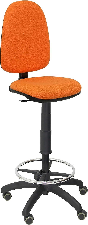 Piqueras Y Crespo T04CP Ayna bali- Taburete ergonómico, regulable en altura, aro reposapiés y ruedas de parquet, 100/123x46x40 cm, Naranja