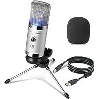 Micrófono USB para PC - ALVOXCON Condenser Microphone Plug/Play con Monitoreo Jack para Auriculares y Volumen compatible…