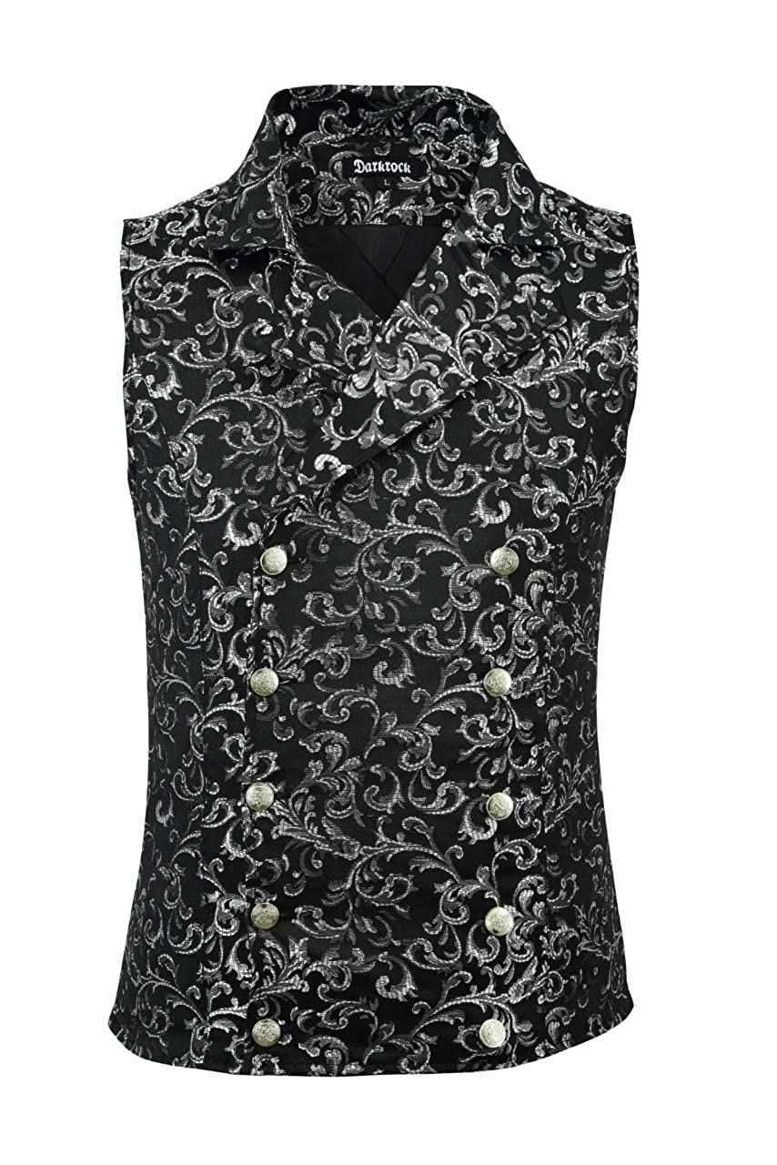 Premium Quality Stylish Mens Damask Tapestry Double-Breasted Vest Waistcoat Gothic Aristocrat Steampunk Victorian Vest