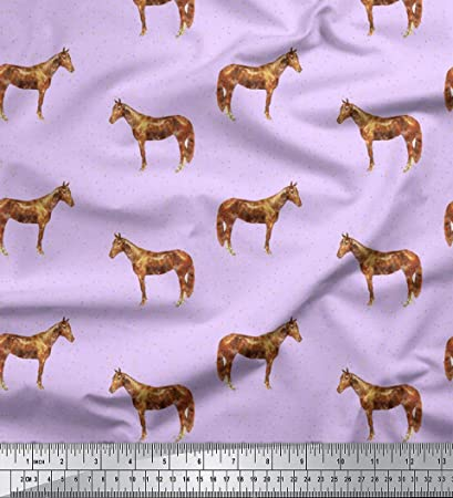 Amazoncom Soimoi Purple Silk Fabric Horse Dot Animal Print