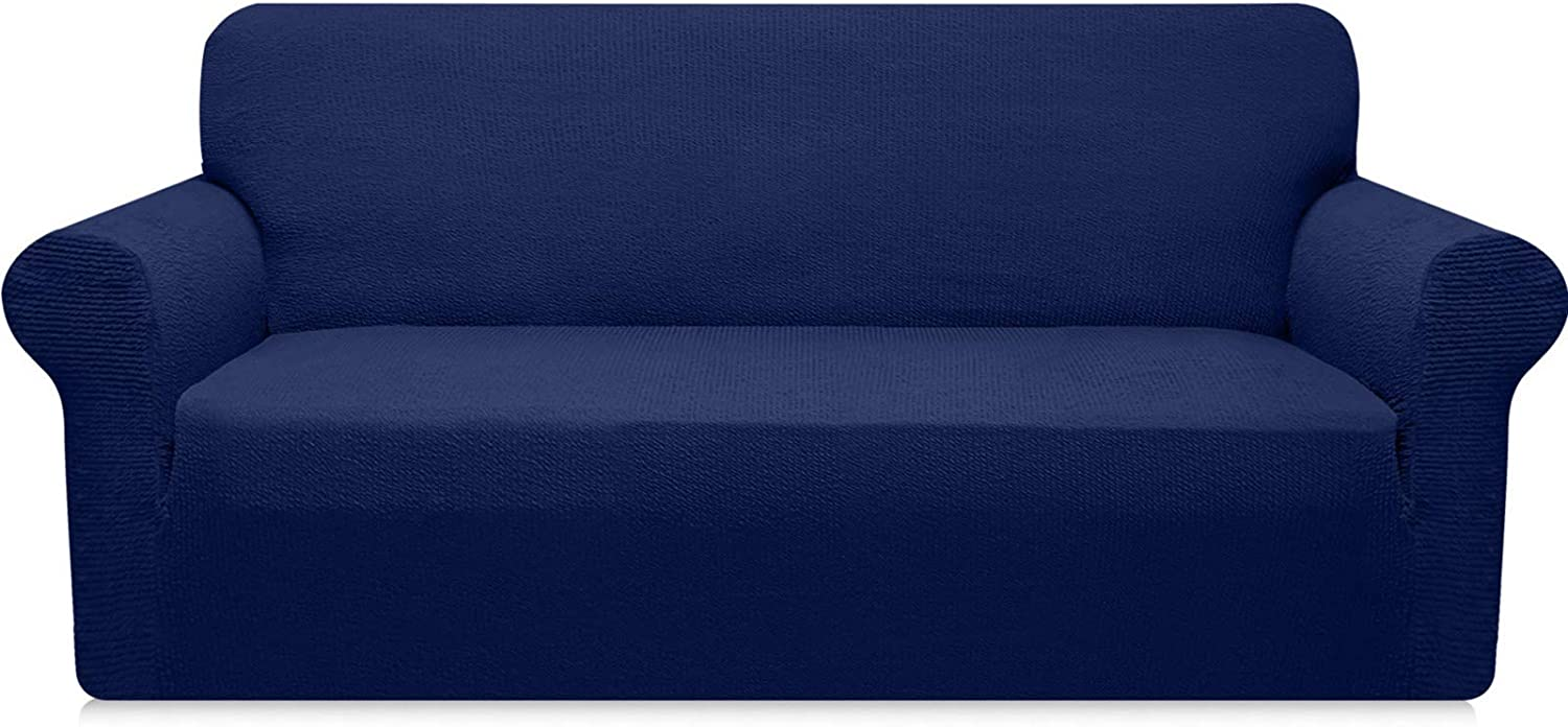 Carltina Stretch Sofa Slipcover Modern Striped Couch Cover for 3 Cushion Couch 1 Piece Jacquard Sofa Cover for Dogs Pets Non Slip Washable Furniture Protector (Large, Navy Blue)
