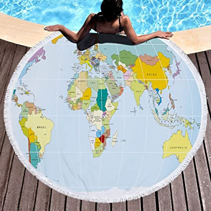 Buy chezmax round beach towel microfiber circle roundie beach chezmax round beach towel microfiber circle roundie beach blanket with fringe picnic carpet yoga mat world gumiabroncs Choice Image