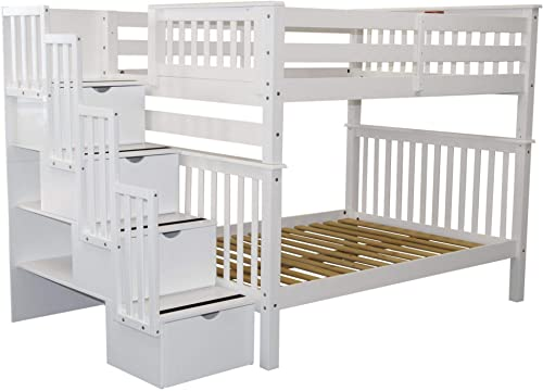 Bedz King Stairway Bunk Beds Full over Full with 4 Drawers in the Steps, White